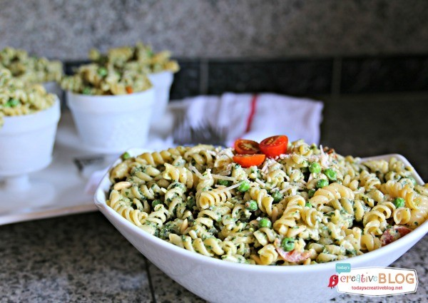 Pasta Pea and Pesto Salad Recipe | This salad is full of flavor and the perfect side dish for summer grilling | Find more recipes on TodaysCreativeBlog.net