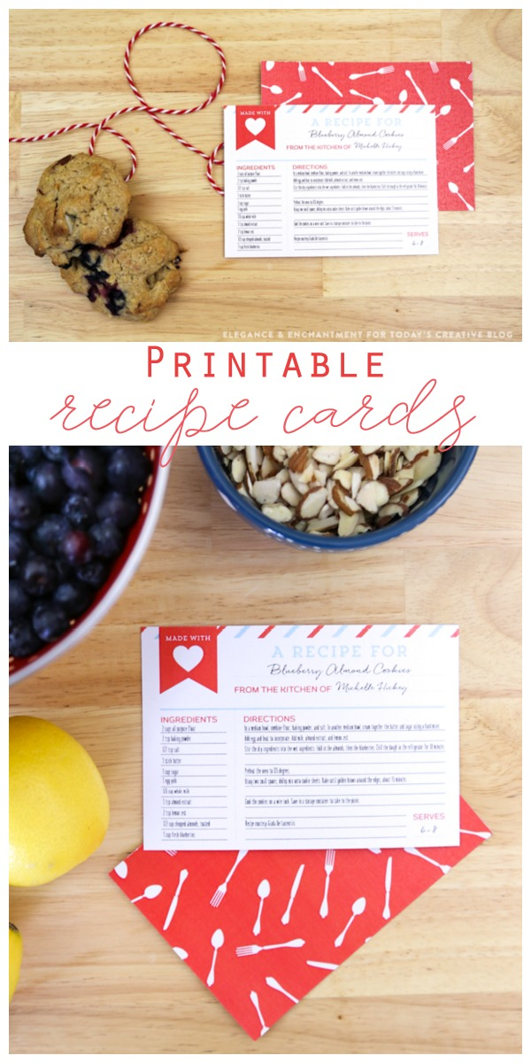 Free Printable Recipe Cards | free printables for easy homemade gift ideas. Designed by Elegance & Enchantment for TodaysCreativeLife.com. Click on the photo to download your own copy.