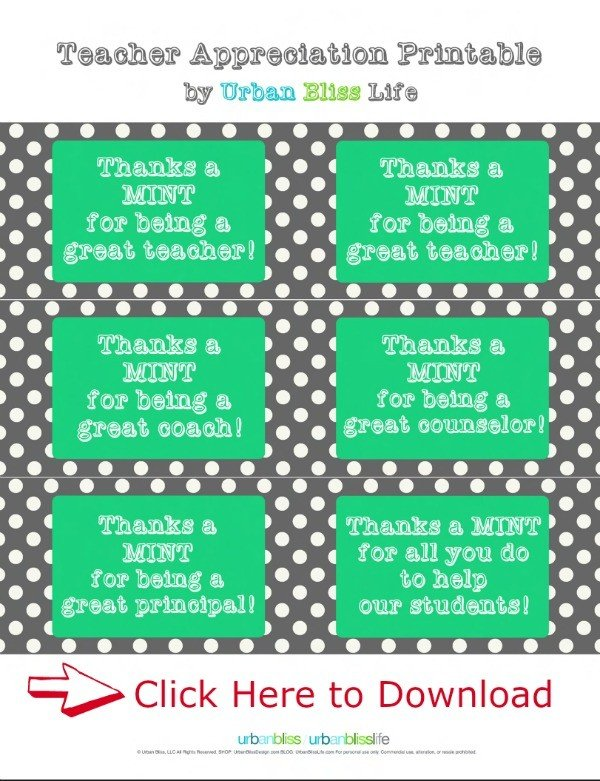Free Printable Teacher Appreciation Gift Ideas
