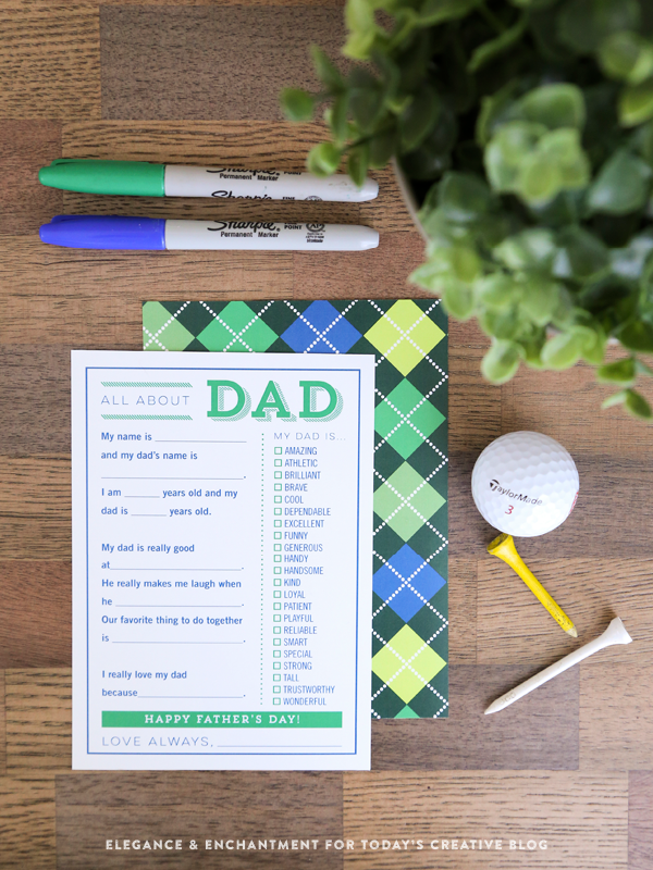 printable father's day card in green and blue.