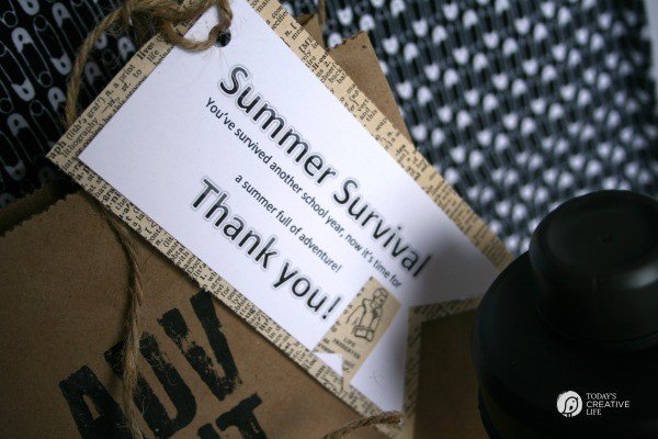 Male Teacher Gift - Summer Survival Kit | Teacher Appreciation Week | See more creative inspiration on TodaysCreativeLife.com