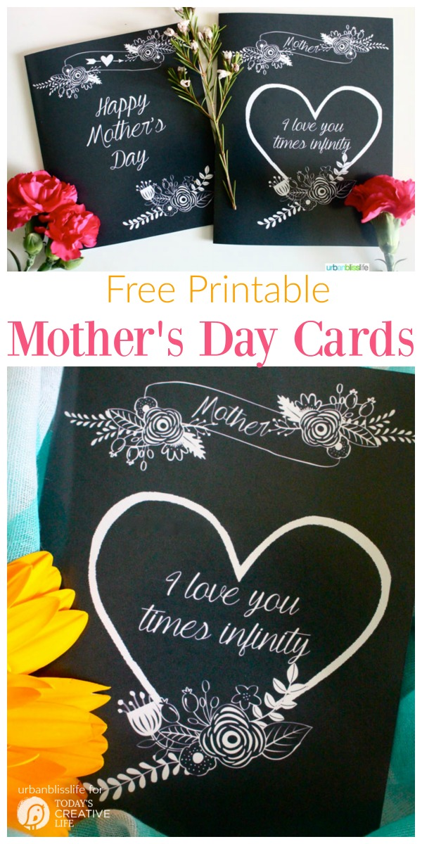 Free Printable Mother's Day Cards | Grab your chalk board inspired mother's day card with this free download. Click the photo  - Todayscreativelife.com