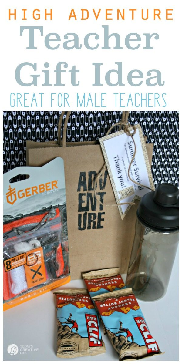 Male Teacher Gift - Summer Survival Kit | Put together a great teacher gift for the teacher who loves adventure. Great for male teachers. Find more ideas on TodaysCreativelife.com