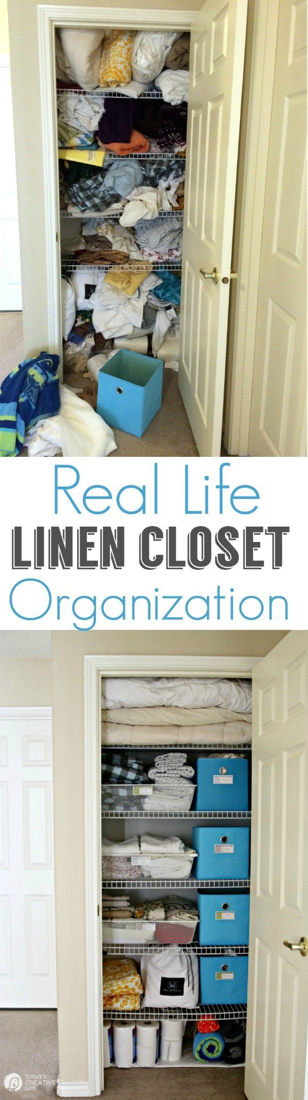 Organized Linen Closet for Real Life   Functional and pretty rarely collide, organize a linen closet for real life isn't going to be magazine ready, but you'll love it! See more on TodaysCreativeLife.com