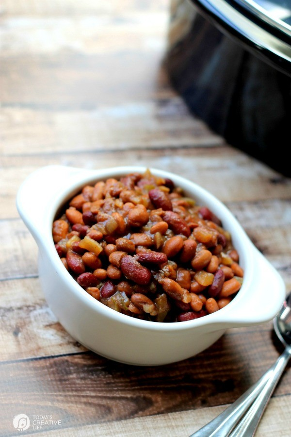 Slow Cooker BBQ Baked Beans | BBQ Beans | Crockpot Baked Beans | Free ...