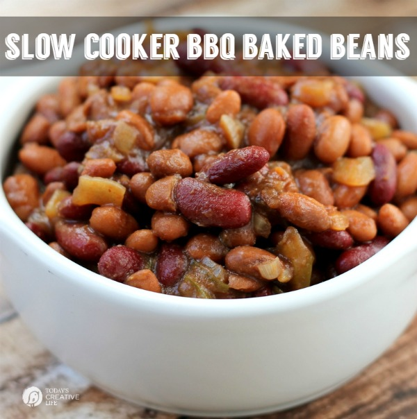Slow Cooker BBQ Baked Beans | See more Slow Cooker recipes on TodaysCreativeLife.com