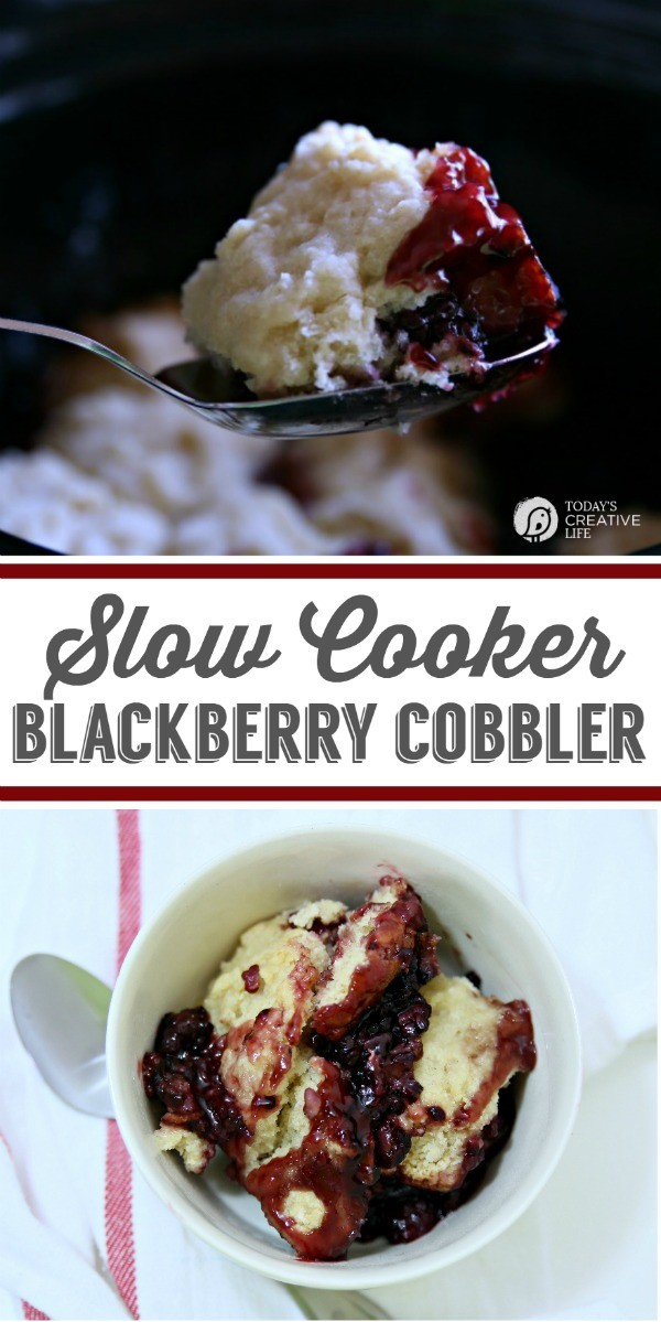 Slow Cooker Blackberry Cobbler | See more slow cooker recipes on TodaysCreativeLife.com