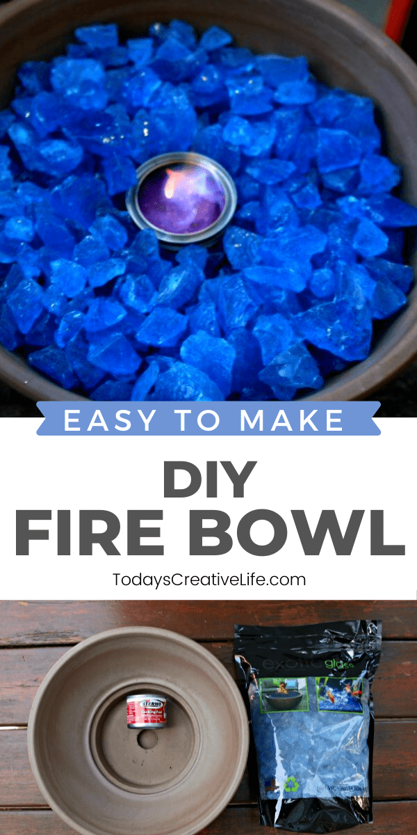 Photo collage of a diy tabletop fire bowl with blue rock.