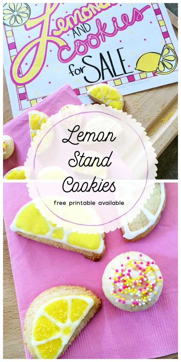 Lemonade Stand Cookies | Free Lemonade Stand Printable with Lemon Cookie Recipe | Decorated Cookies for summer | TodaysCreativeLife.com