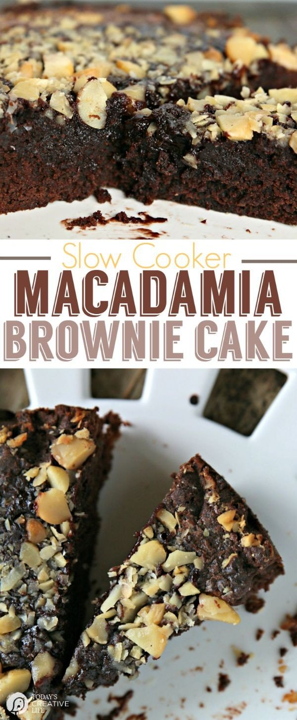 Slow Cooker Macadamia Brownie Cake |Gooey and delicious dessert straight from your crockpot! Using a boxed brownie mix make this recipe EASY! | Slow Cooker Sunday | Crock pot Recipes | Find more on TodaysCreativeLife.com