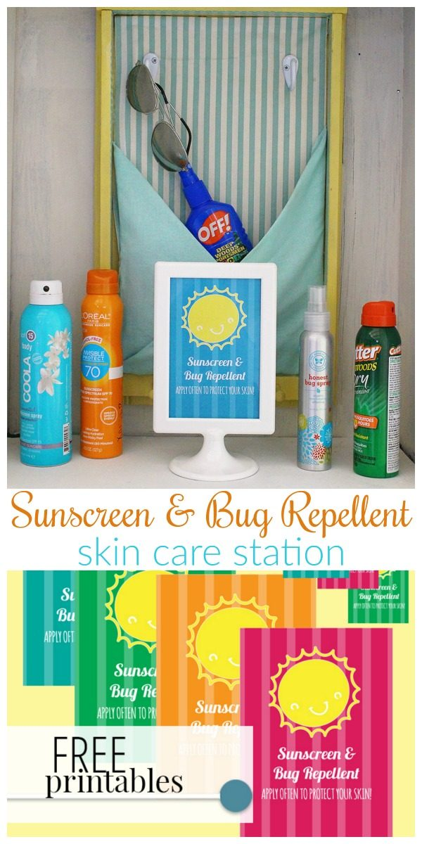 Sunscreen and bug repellent station | Create a skin care command station for outdoor fun. Keep everyone safe from sunburn and bug bites! A Well Crafted Party for TodaysCreativeLIfe.com