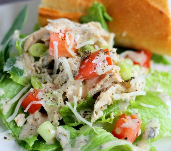 Slow Cooker Chicken Caesar Salad | Just one recipe from the Slow Cooker Caesar Chicken | See more Slow Cooker Sunday recipes on TodaysCreativeLife.com