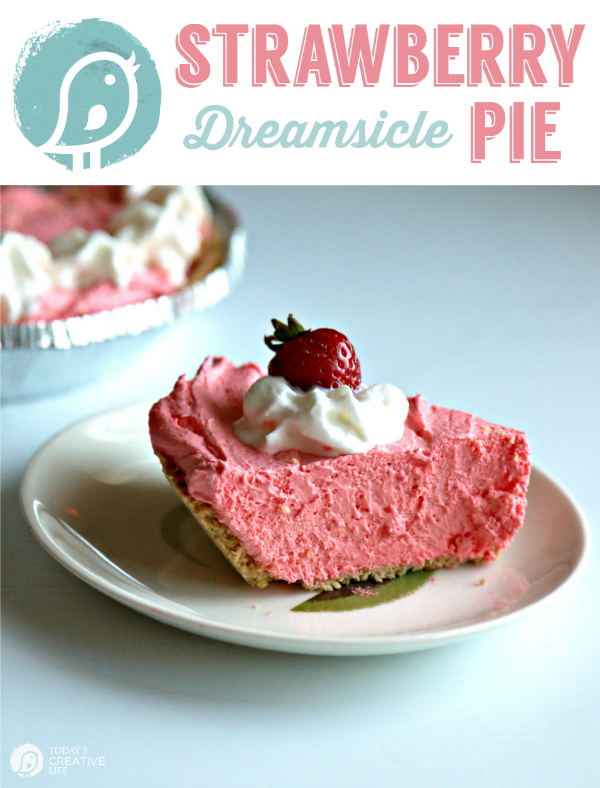 A plate with a slice of strawberry dreamsicle pie.