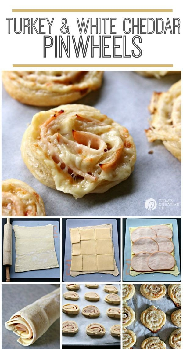 photo collage showing how to make turkey and cheese pinwheel sandwiches