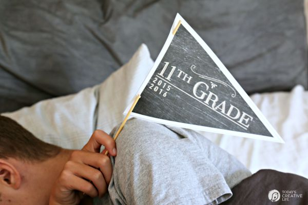 First Day of School Free Printable Pennants | Get the perfect First Day of School photo with these printable pennants. Get your free printable on TodaysCreativelife.com