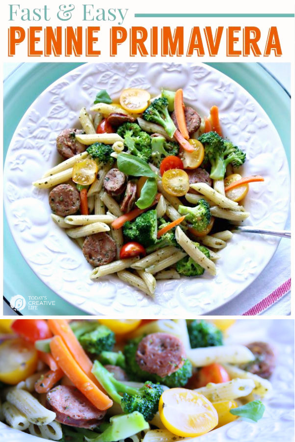 Penne Primavera Pasta Recipe | Easy to make pasta recipe full of vegetables | Low Glycemic Pasta | Dreamfields Pasta | See full recipe on TodaysCreativeLife.com