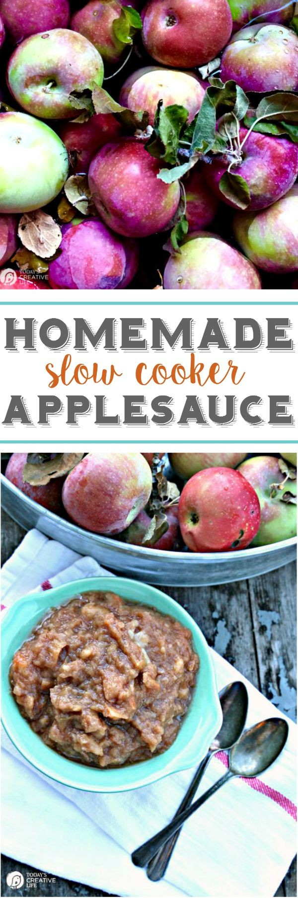 Homemade Slow Cooker Applesauce | Sweet, tangy and delicious! So easy to make using your crockpot! See more Slow Cooker Sunday Recipes on TodaysCreativeLife.com