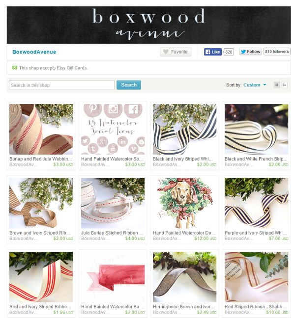 Find all your ribbon needs from Boxwood Avenue on Etsy.