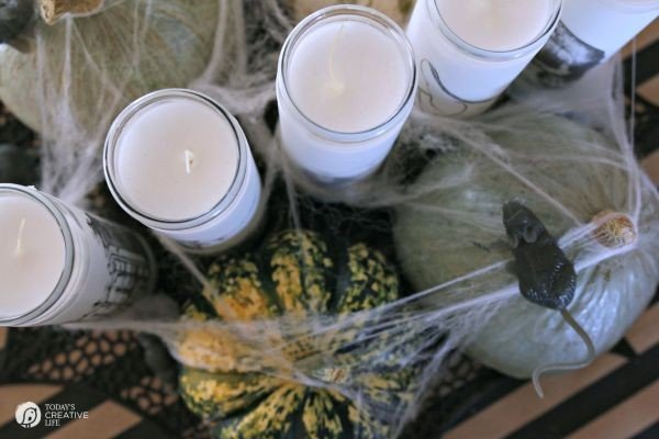 How to Make Spooky Halloween Candles | See the tutorial on TodaysCreativeLife.com | Make simple Halloween Decor in minutes! Easy Halloween Table Centerpiece