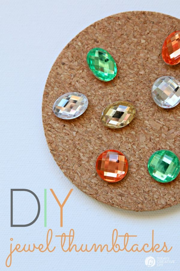 DIY Jewel Thumbtacks | This easy, quick and beautiful craft brings more personality to your bulletin board! Transform a boring and drab thumbtack into an attention getting push pin. See more on TodaysCreativeLife.com