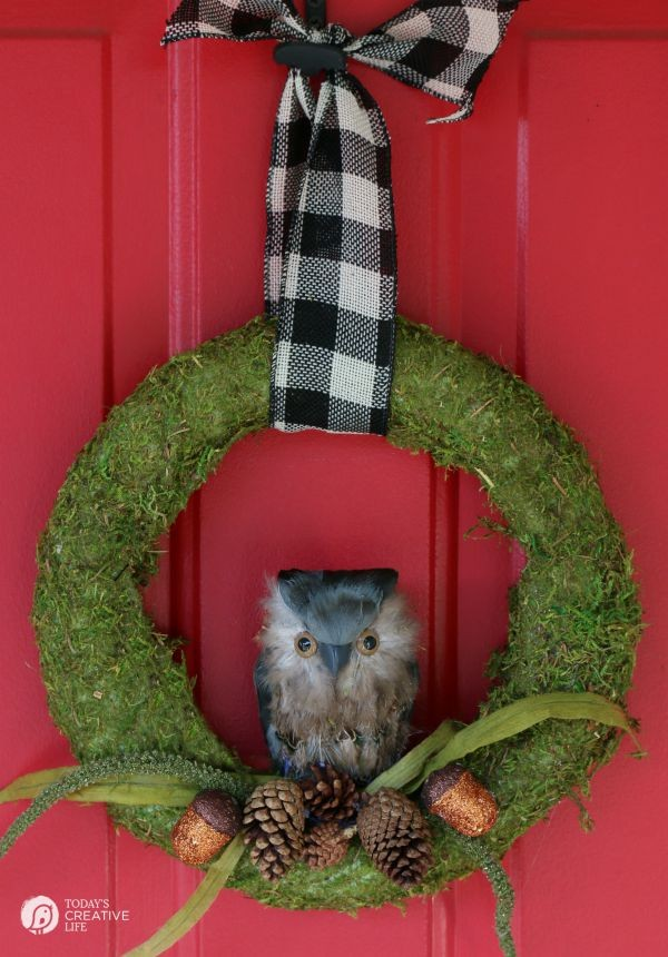 DIY Fall Wreath | Moss and Owl Wreath by TodaysCreativeLife.com
