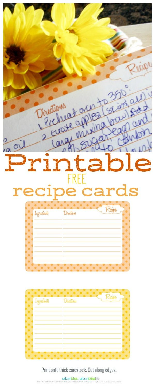 Free Printable Fall Recipe Cards by UrbanBlissLife for Today's Creative Life | Recipes cards are great for handing out at potlucks, or adding to a hostess gift! See more free printables on TodaysCreativeLife.com