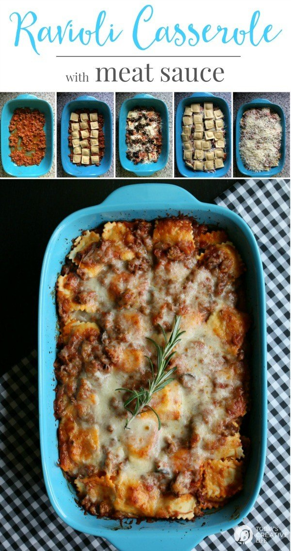 step by step photos showing how to make a recipe for Ravioli Casserole with Meat Sauce