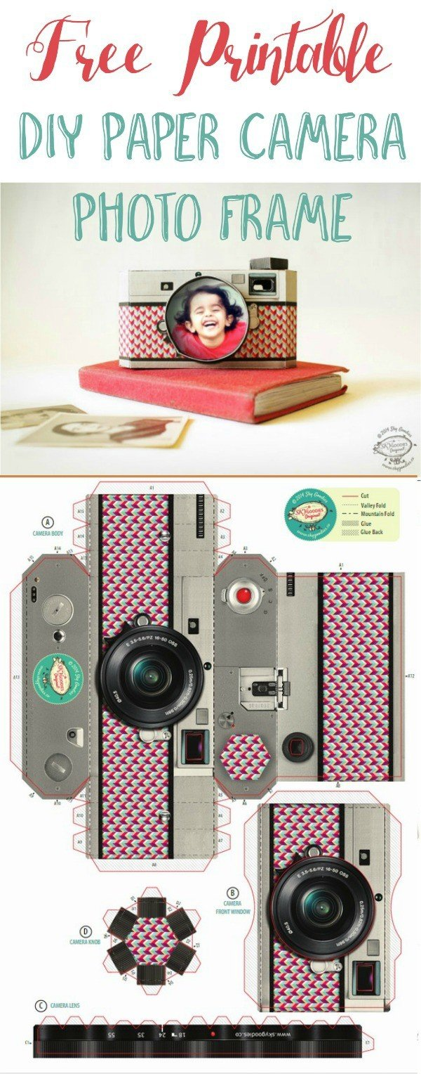 Free Printable DIY Paper Camera Photo Frame | Printable gifts | Download this unique paper camera from SkyGoodies and TodaysCreativeLife.com
