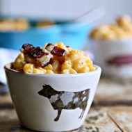 Three Cheese Baked Mac and Cheese with Bacon | See recipe on TodaysCreativeLife.com