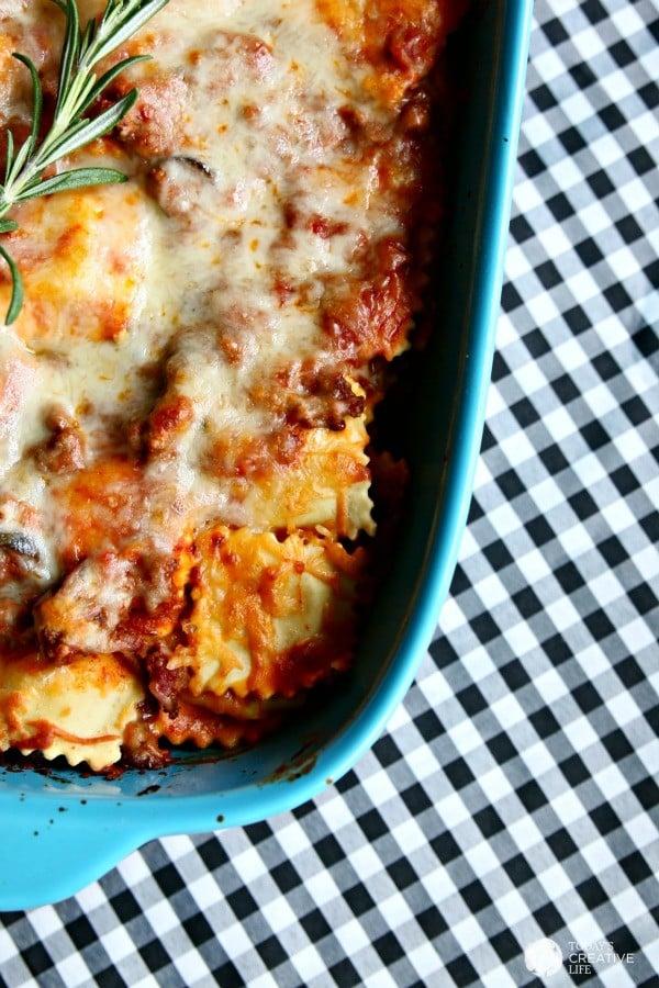 Tuscan-inspired ravioli casserole in a casserole dish