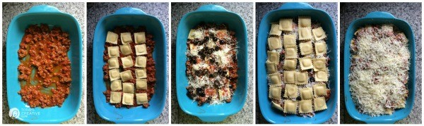 step by step photos showing how to make a layered pasta casserole