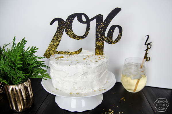 DIY 2016 Cake and Drink Toppers by LemonThistle for TodaysCreativeLife.com | Ring in the new year with glitter and your Cricut Explore! See the full tutorial on TodaysCreativeLife.com