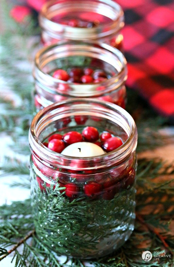 Easy Holiday Centerpiece with Cranberries and Cedar | TodaysCreativeLife.com