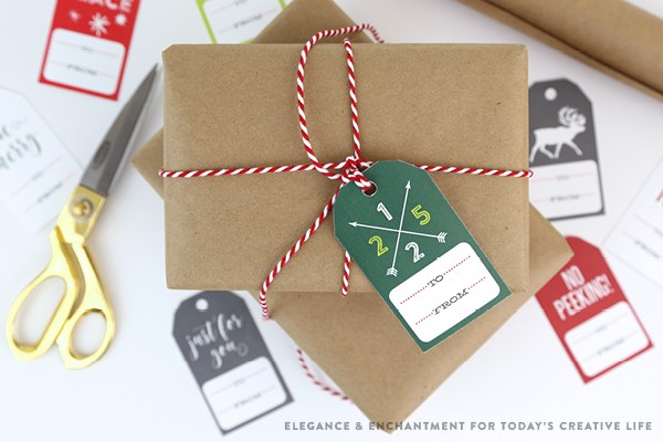 Free Printable Christmas Gift Tags | Gift wrapping just got easier! Create simple and beautiful presents with free printables. Designed by Elegance and Enchantment for TodaysCreativeLife.com