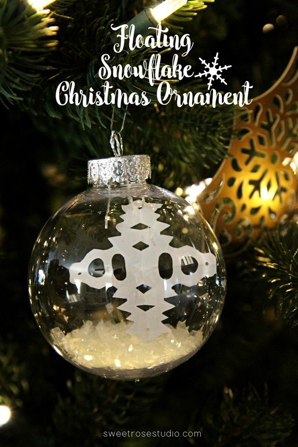 DIY Floating Snowflake Christmas Ornament | Katie from Sweet Rose Studio is sharing an easy tutorial for this diy holiday ornament. Find more holiday crafts, recipes and decorating ideas at the Creative Girls Holiday Soiree on TodaysCreativeLive.com