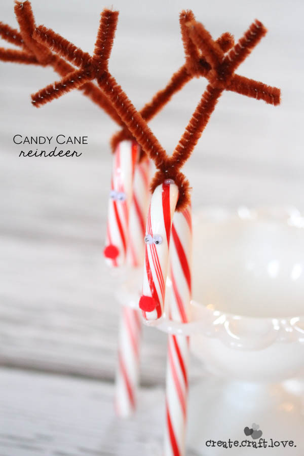 Candy Cane Reindeer | These Candy Cane Reindeer are super easy to make and perfect for classroom Christmas parties! via createcraftlove.com for TodaysCreativeLife.com Creative Girls Holiday Soiree.