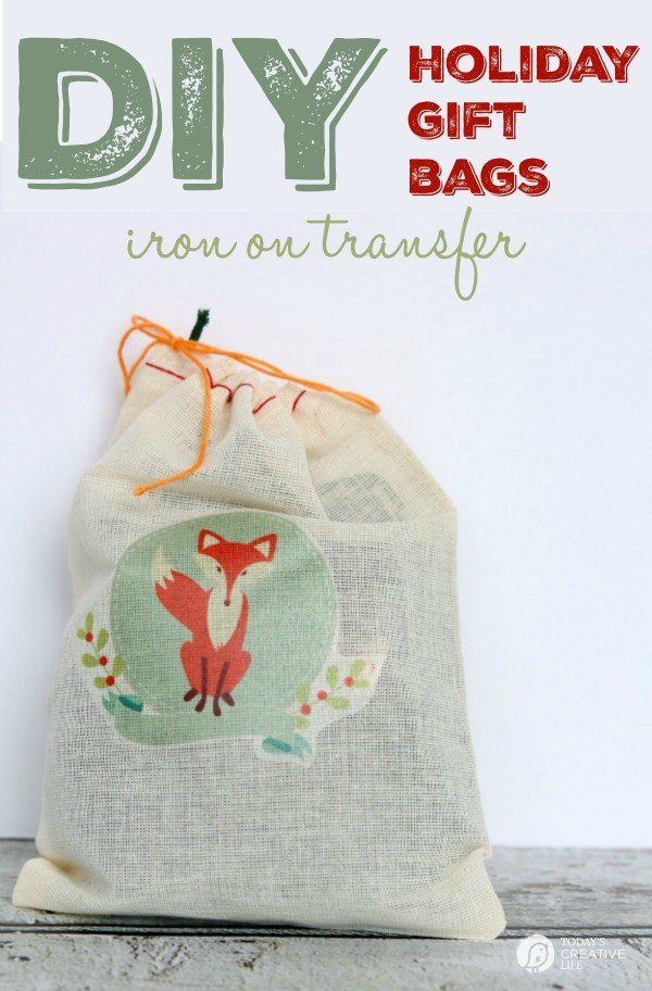 Easy DIY Holiday Gift Bags with an Iron on Transfer