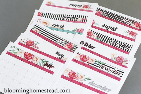 2016 PRintable Calendars by Blooming Homestead