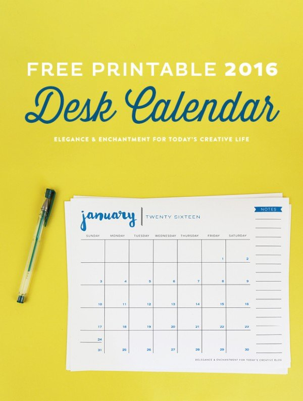 Table Calendar 2016 : Free printable desk calendar today s creative life