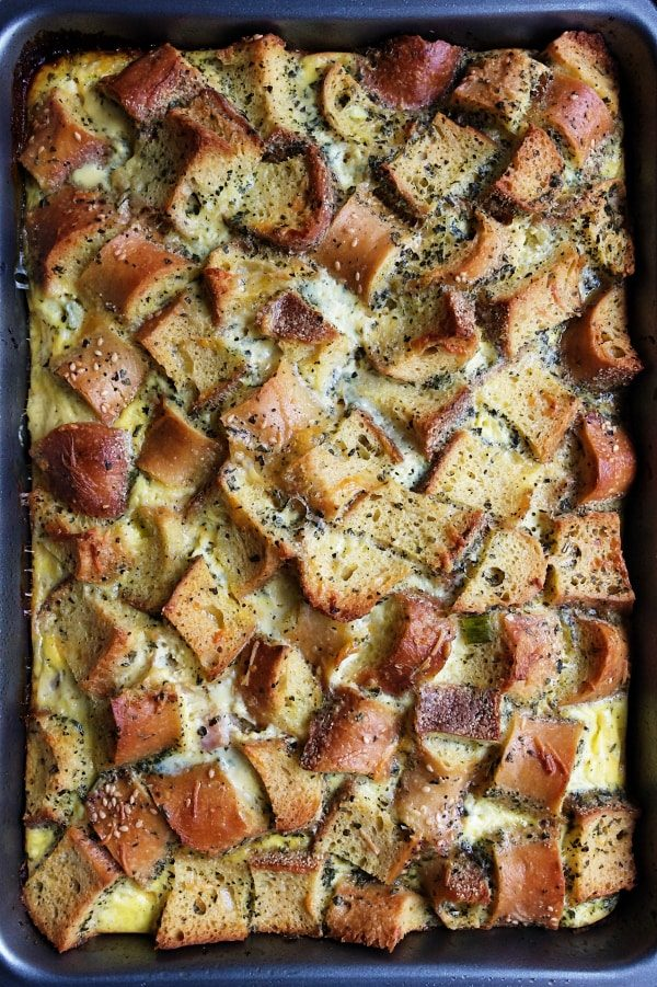 Baguette Ham Overnight Breakfast Casserole by Reluctant Entertainer