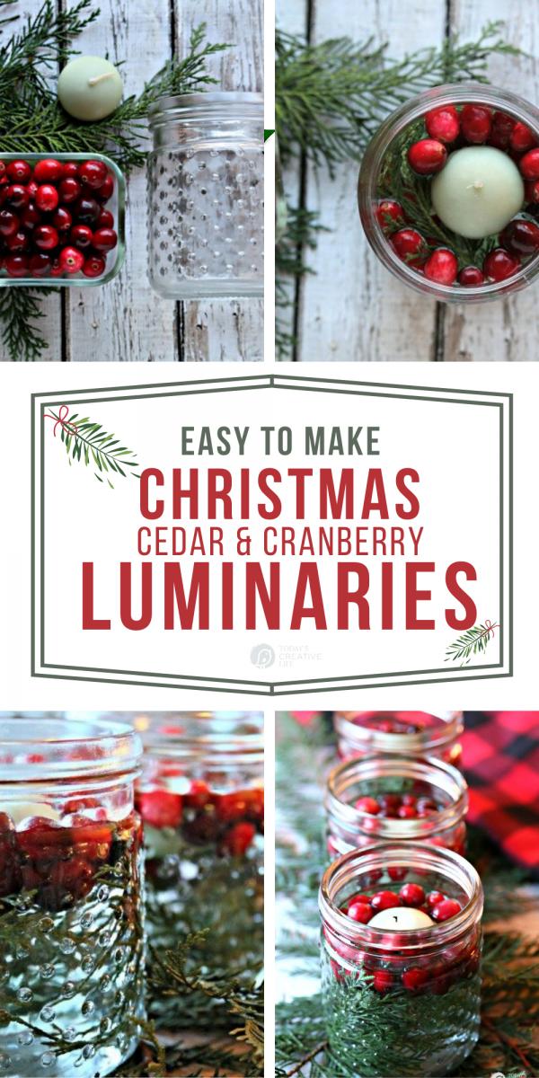 Photo collage of diy cedar cranberry luminaries.