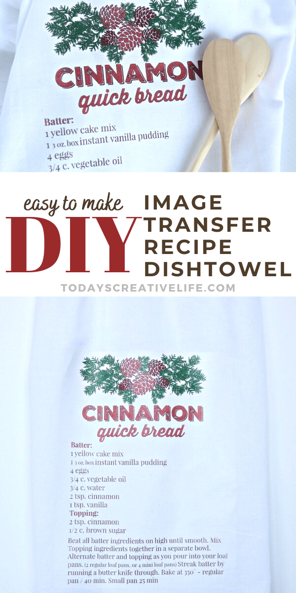 photo collage of a dishtowel with a recipe printed on.