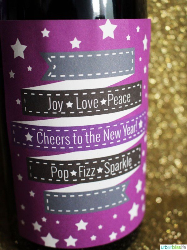 New Year's Eve Printable Wine Labels are free for your party planning. Designed by UrbanBlissLife for Today's Creative Life. Bottle labels make it easy to throw a New Years Eve Party!