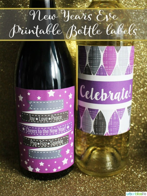 new years eve printable wine labels