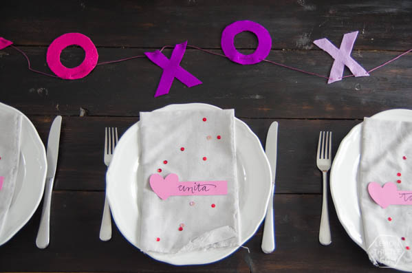 DIY Valentine's Day Place Cards - Create a simple and beautiful table with these ideas. See the full tutorial, using a Cricut Explore on Today's Creative Life. Click on the photo.
