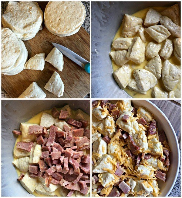 step by step photos showing how to make a ham and cheese egg casserole