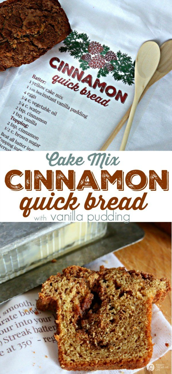 Cake Mix Cinnamon Quick Bread | Quick breads have never been so tasty! Using a cake mix makes the best treat and perfect for gift baskets or breakfast! Find the recipe on TodaysCreativeLife.com