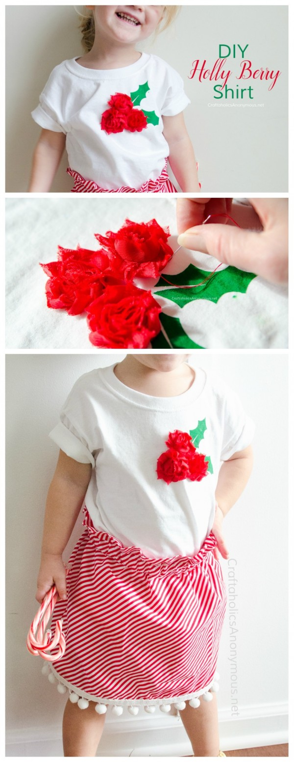 DIY Christmas Shirt made by Craftaholics Anonymous for the Creative Girls Holiday Soiree! Find Christmas crafts, decorating and recipes! Make easy DIY t-shirts for your kiddos with this easy tutorial. See it on TodaysCreativeLIfe.com