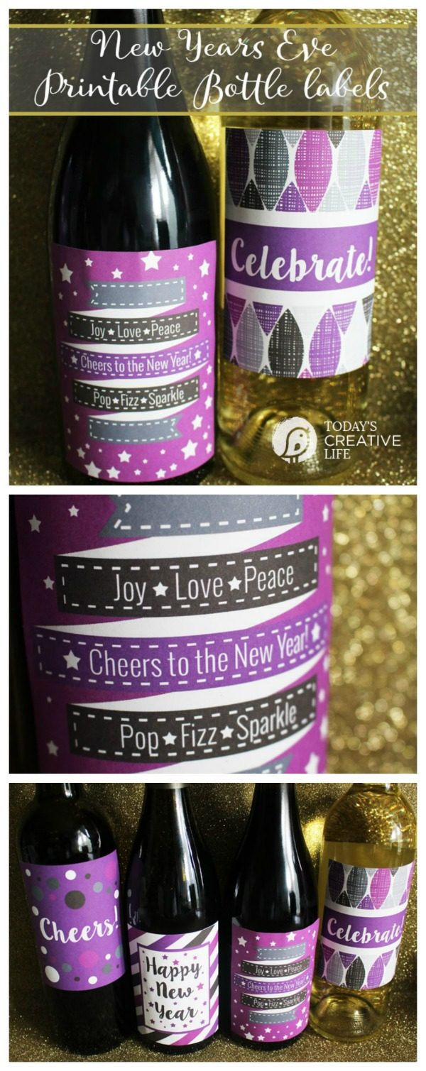 New Year's Eve Printable Wine Labels are free for your party planning. Designed by UrbanBlissLife for Today's Creative Life. Free Printable Bottle labels make it easy to throw a New Years Eve Party!
