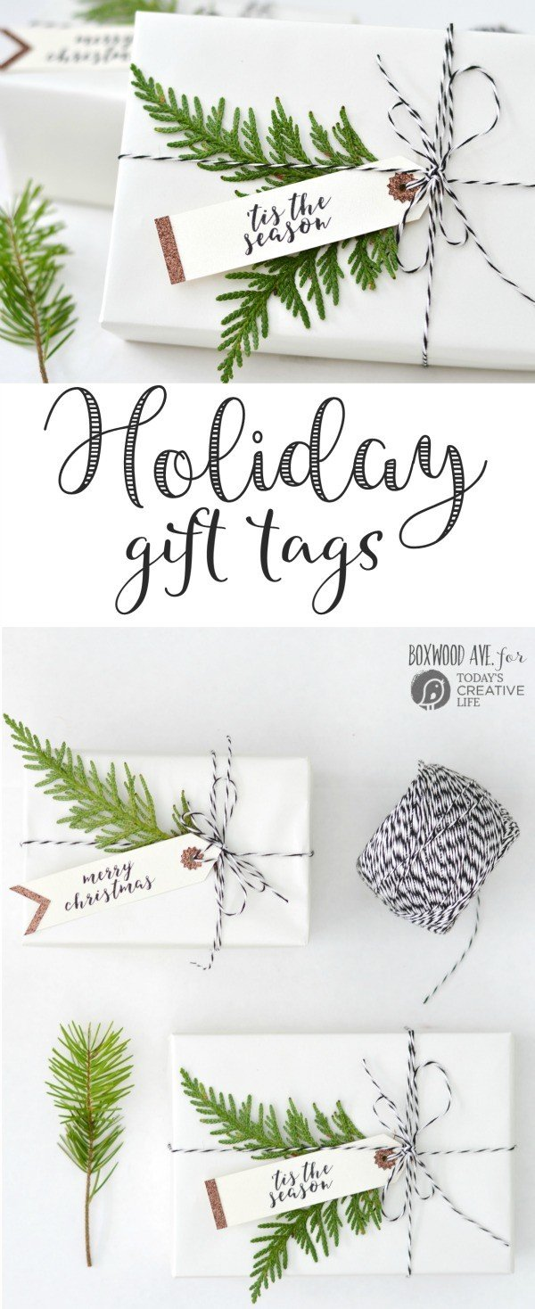 DIY Holiday Gift Tags made with a Cricut Explore Air by Boxwood Ave. for TodaysCreativeLife.com | Make simple Christmas gift tags for simple gift wrapping that looks amazing!